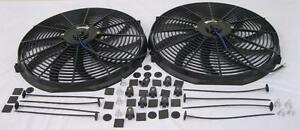 Dual 16 Curved S blade Universal Electric Radiator Cooling Fans W Mounting Kit