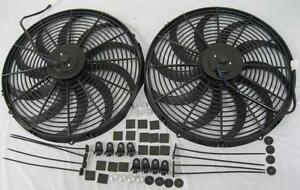 Dual 16 Extreme S blade Electric Cooling Radiator Fans W Mounting Kit High Cfm