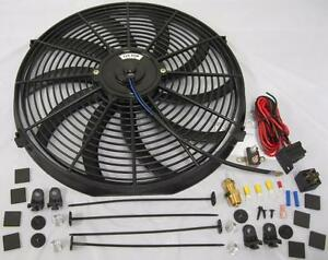 High Cfm 16 Electric Curved S blade Cooling Radiator Fan Thermostat Mount Kit