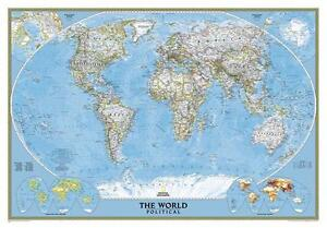 Poster Political World Map Landscape 42 7 8x29 7 8in