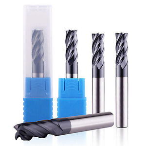 5 Pcs 4 Flute 3 8 End Mill Solid Carbide Tialn Coated X 1 X 2 1 2 Cnc Bit
