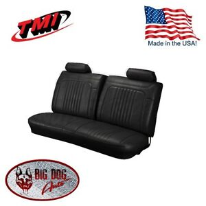 1971 1972 Chevelle El Camino Black Bench Seat Upholstery W Headrest By Tmi