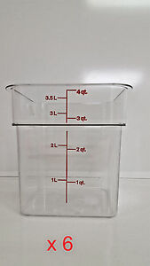 6 New Cambro Square 4 Quart Clear Camsquare Food Storage Containers 4sfscw135