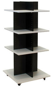 Shelf Tower Clothing Display Retail Wood Fixture Knockdown Black white New