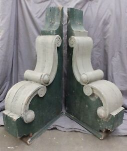 2 Large Antique Wood Entrance Corbels Gingerbread Shabby Vtg Chic Old 1771 16
