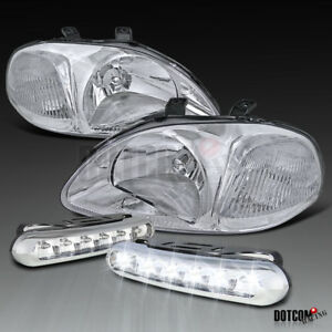 Fit 1996 1998 Honda Civic Jdm Clear Head Lights Running Daytime Led Fog Lamps