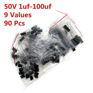 90pcs 50v 1 100uf 2 2uf 4 7uf 10uf 22uf 47uf Electrolytic Capacitors Kit Radial
