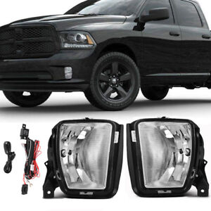 For 2013 2017 Dodge Ram 1500 Clear Lens Fog Light Front Bumper Lamp Complete Kit