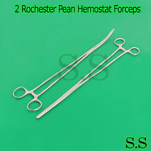 2 Rochester Pean Hemostat Forceps 18 Straight curved Surgical Instruments