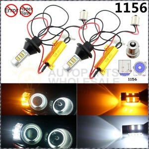 2pcs No Hyper Flash 1156 Switchback Led Bulbs Front Turn Signal Lights Or Drl