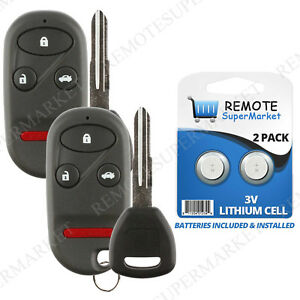 2 Replacement For Honda 1998 2002 Accord 1997 2001 Prelude Remote Car Key Fob