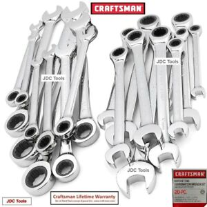 Craftsman 20 Pc Polished Combination Ratcheting Wrench Set Metric Mm Sae 10