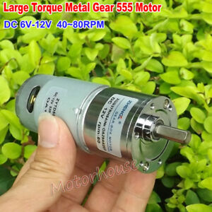 Dc 6v 12v 80rpm Micro 555 Full Metal Gear Motor Gearbox Large Torque Low Speed