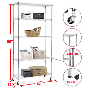 Adjustable 5 Tier Wire Shelving Rack Heavy Duty Chrome Steel Shelf W wheels