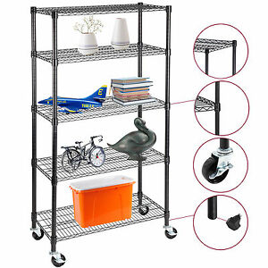 5 Tier Adjustable Steel Shelf 60 x30 x14 Heavy Duty Wire Shelving Rack