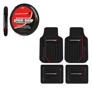 New Dodge Elite Racing Stripes Rubber Floormats And Steering Wheel Cover