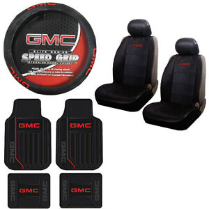 New 9pc Gmc Elite Red Logo Rubber Floormats Seat Covers Steering Wheel Cover Set