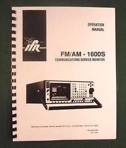 Ifr Fm am 1600s Communications Monitor Operation Manual