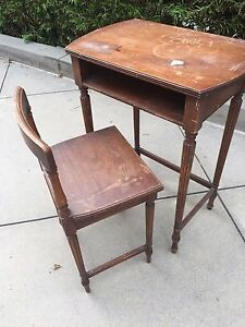 Antique Child S Desk With Chair