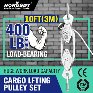 180 Kg Poly Rope Hoist Pulley Wheel Block And Tackle Wild Game Deer Hanger New