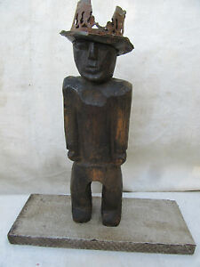 Vintage Carved Wooden Folk Art Man With A Hat