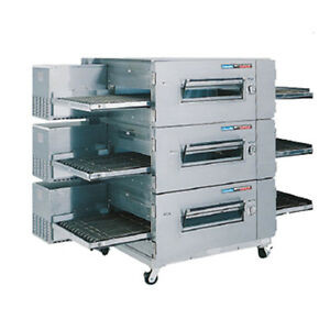 Lincoln 1600 3g Gas Low Profile Triple Stack Conveyor Pizza Oven