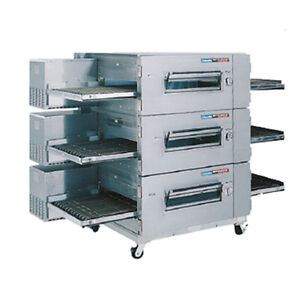 Lincoln 1600 fb3e Electric Lowprofile Triple Stack Conveyor Oven W Fastbake
