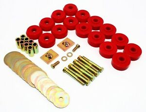 1959 1964 Chevy Impala Bel Air Hard Top Body Mounts Kit Red Poly Prothane 7 144