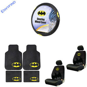 New Batman The Dark Knight Logo 9pc Floor Mat Seat Covers Steering Wheel Cover
