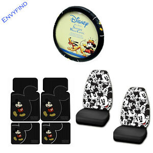 New Disney Mickey Mouse Vintage 7pc Floor Mat Seat Covers Steering Wheel Cover