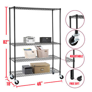 Commercial 82 x48 x18 Wire Shelving Rack 4 Tier Adjustable Steel Shelf