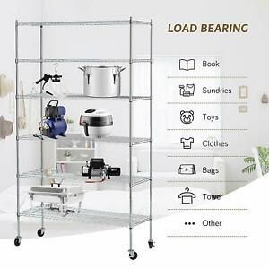 Heavy Duty Adjustable 82 x48 x18 6 Tier Wire Shelving Rack Steel Shelf Layer
