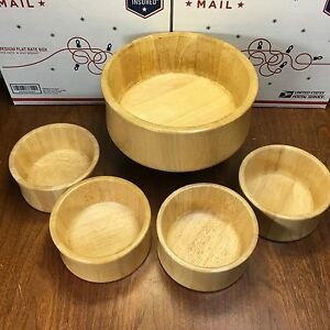 Dansk Mid Century 5 Pc Wood Salad Bowl Set Ihq Denmark Blonde Jhq
