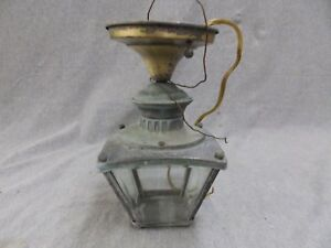 Vintage Brass Porch Ceiling Light Fixture Retro Beveled Glass 1856 16