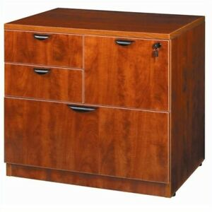 Filing Cabinet File Storage Combo Lateral In Cherry By Boss Office Products