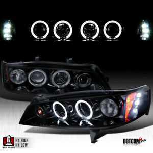 Black Smoke For 1994 1997 Honda Accord Led Dual Halo Projector Headlights Pair