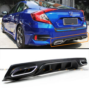 For 2016 18 10th Honda Civic Sedan Rear Bumper Diffuser Fake Exhaust Outlet Tip