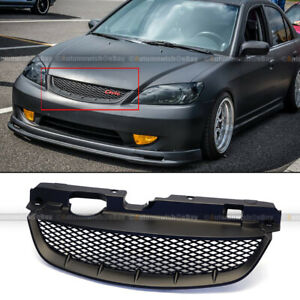 For 04 05 Civic Honeycomb T R Style Matte Black Front Mesh Hood Grill Grille