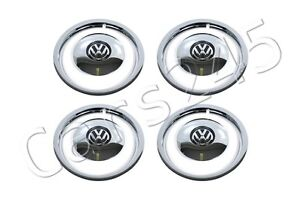 Genuine Wheel Center Hub Covers Trim Rings 4x Set Chrome Black Vw Beetle 2012