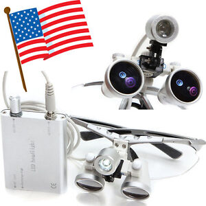 Usa Dentist Student Dental Surgical Loupes 3 5x 420mm With Led Head Light Lamp