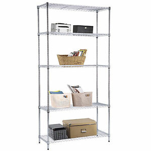 73 x36 x14 5 Tier Wire Shelving Steel Rack Chrome Shelf Adjustable Heavy Duty