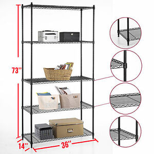 Heavy Duty 5 Tier Layer Wire Steel Shelving Adjustable 73 x36 x14 Storage Rack