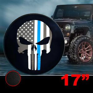 31 32 33 Us Flag Three Color Skull Spare Wheel Tire Cover Black Leather 17 Inch