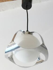 Adorable Small Chandelier Ball Opaline Chrome Vintage 70 S Space Age