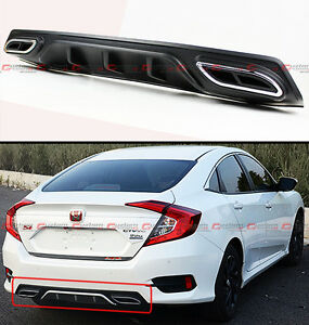 For 2016 18 Honda Civic Shark Fin Rear Bumper Diffuser W Decorative Exhaust Tip