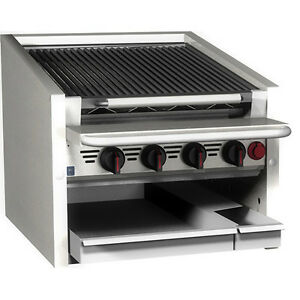 Magikitch n Cm rmb 624 24 Countertop Stainless Steel Radiant Gas Charbroiler