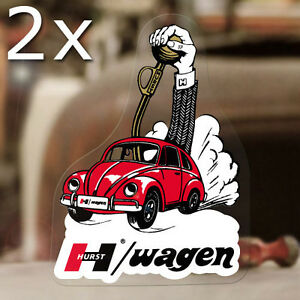 2x Pieces Hurst Bug Wagen Sticker Decal Old School Aircooled Beetle Bus 5 25