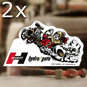 2x Pieces Hurst Hydrogate Sticker Decal Old School Rat Hot Rod Flathead 6 5
