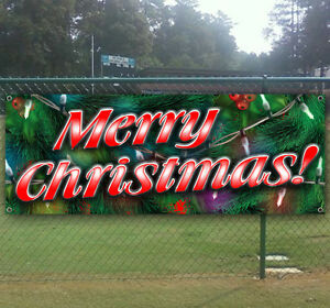 Merry Christmas Advertising Vinyl Banner Flag Sign Many Sizes Available