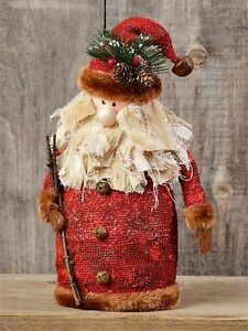 New Primitive Rustic Country Christmas Standing Santa Fur Twig Figurine Doll 14